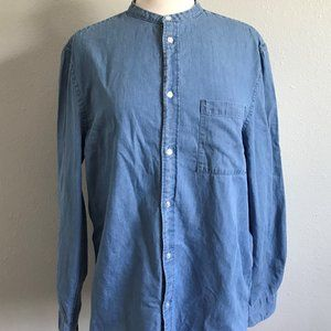 H&M Collarless Long Sleeve Chambray Button-Up